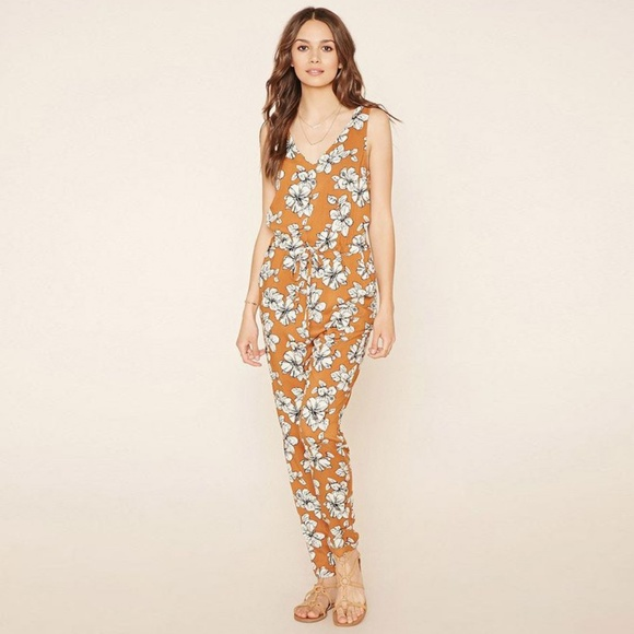 search for latest official store new style & luxury Rust Brown & White Floral Sleeveless Jumpsuit